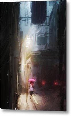 Pink Umbrella Metal Print by H James Hoff
