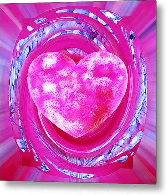 Pink Valentine Heart Metal Print
