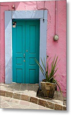 Pink Wall, Blue Door Metal Print by Rob Huntley