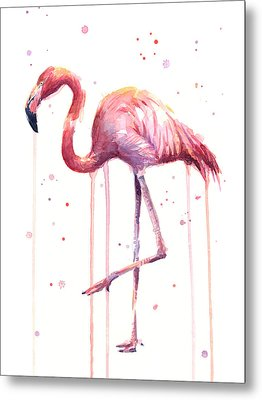 Pink Watercolor Flamingo Metal Print by Olga Shvartsur