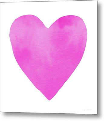 Metal Print featuring the mixed media Pink Watercolor Heart- Art By Linda Woods by Linda Woods