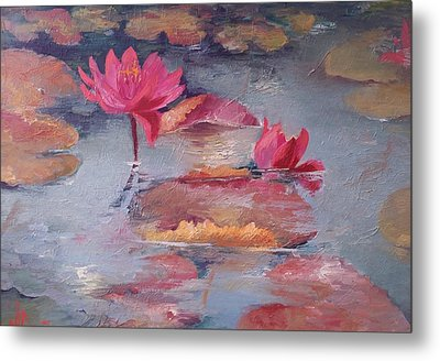 Pink Waterlilies Metal Print by Vali Irina Ciobanu