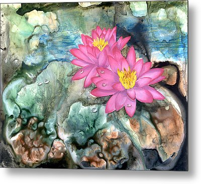 Metal Print featuring the painting Pink Waterlily by Sherry Shipley