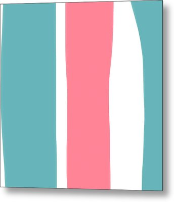 Metal Print featuring the painting Pink White Blue 2 by Bonnie Bruno