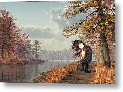 Metal Print featuring the digital art Pinto Horse On A Riverside Trail by Daniel Eskridge