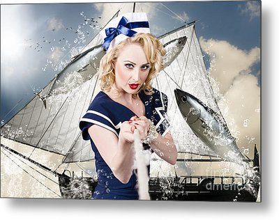 Pinup American Military Girl Pulling Sea Anchor  Metal Print by Jorgo Photography - Wall Art Gallery