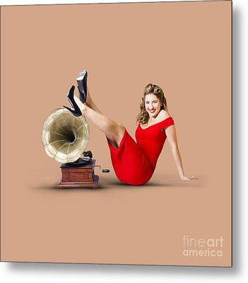 Pinup Girl In Red Dress Playing Classical Music Metal Print