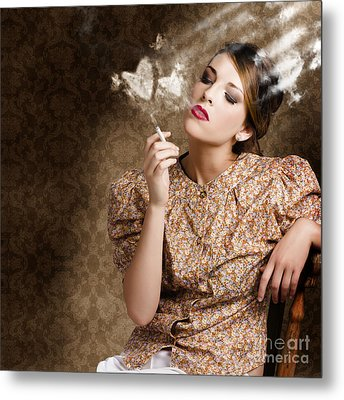 Pinup Portrait Of A Smoking Woman Blowing Hearts Metal Print by Jorgo Photography - Wall Art Gallery