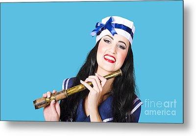 Pinup Sailor Girl Holding Telescope Metal Print