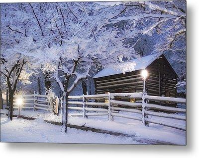 Pioneer Cabin At Christmas Time Metal Print by Utah Images