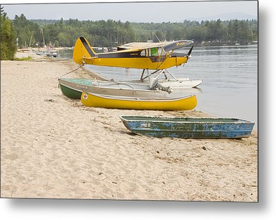 Piper Super Cub Floatplane Near Pond In Maine Canvas Poster Print Metal Print by Keith Webber Jr