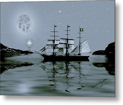 Pirate Cove By Night Metal Print by Madeline  Allen - SmudgeArt