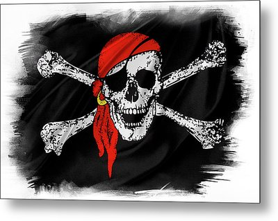 Pirate Flag Metal Print by Les Cunliffe