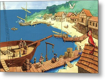 Pirate Port Metal Print