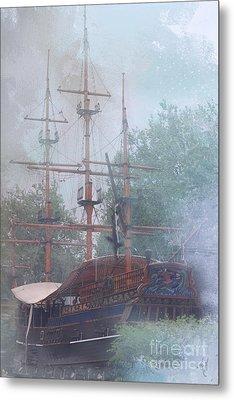 Pirate Ship Hiding In Cove Metal Print