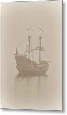 Pirate Ship In Sepia Metal Print by Joy McAdams