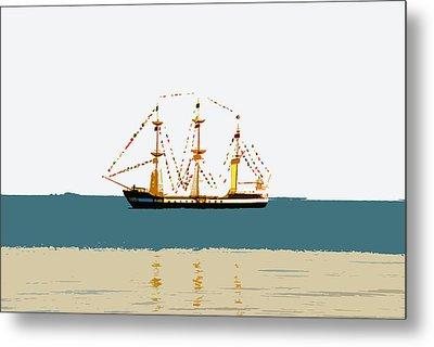 Pirate Ship On The Horizon Metal Print by David Lee Thompson