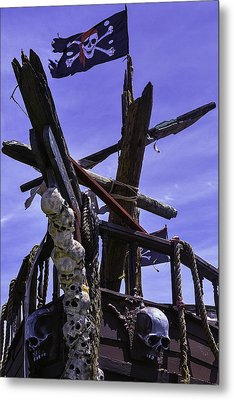 Pirate Ship With Black Flag Metal Print by Garry Gay