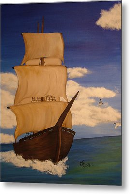 Pirate Ship With Gulls Metal Print by Vickie Roche