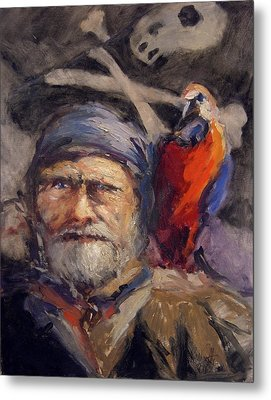 Pirate With Bird And Flag Metal Print by R W Goetting