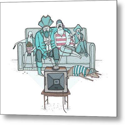 Pirates Sitting On Sofa And Watching Television Set  Metal Print