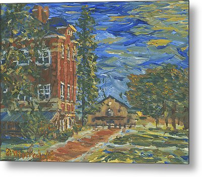 Metal Print featuring the painting Piskor Hall On An August Evening by Denny Morreale