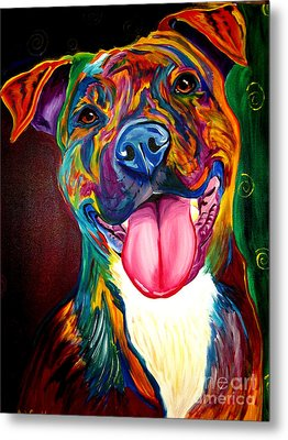 Pit Bull - Olive Metal Print by Alicia VanNoy Call