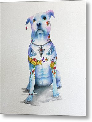 Pit Bull Penny Tattoo Dog Metal Print by Patricia Lintner