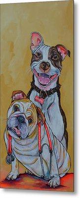 Pitbull And Bulldog Metal Print by Patti Schermerhorn