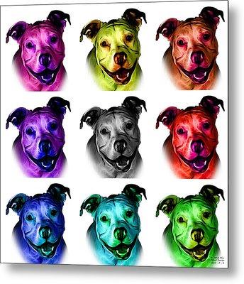 Pitbull Terrier - F - S - Wb - Mosaic Metal Print by James Ahn
