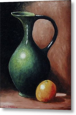 Metal Print featuring the painting Pitcher And Orange by Gene Gregory
