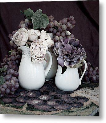 Metal Print featuring the photograph Pitchers And Tapestry by Sherry Hallemeier
