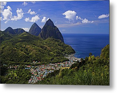 Pitons St Lucia Metal Print by Chester Williams