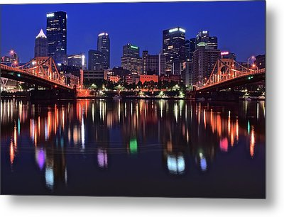 Pittsburgh Blue Hour Lights Metal Print by Frozen in Time Fine Art Photography