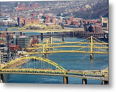 Pittsburgh Bridges Along The Allegheny River Metal Print by Amy Cicconi