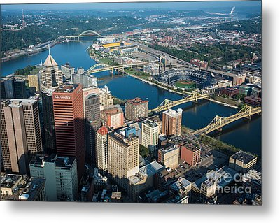 Pittsburgh Bridges And City Aerial View Metal Print by Amy Cicconi