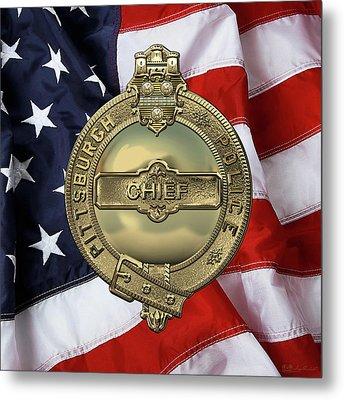 Pittsburgh Bureau Of Police -  P B P  Chief Badge Over American Flag Metal Print