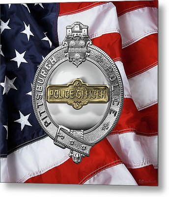 Pittsburgh Bureau Of Police -  P B P  Police Officer Badge Over American Flag Metal Print