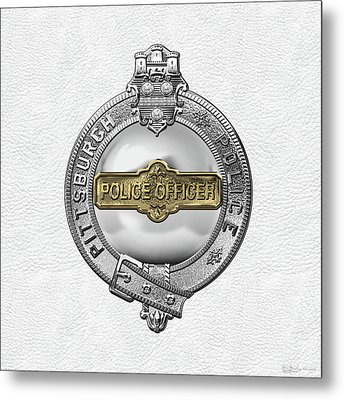 Pittsburgh Bureau Of Police -  P B P  Police Officer Badge Over White Leather Metal Print