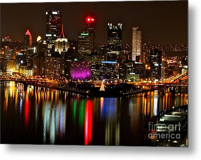 Pittsburgh Christmas At Night Metal Print by Jay Nodianos