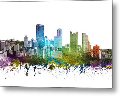 Pittsburgh Cityscape 01 Metal Print by Aged Pixel