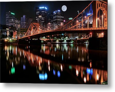 Pittsburgh Full Moon Metal Print by Frozen in Time Fine Art Photography