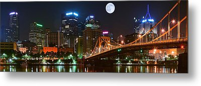 Pittsburgh Full Moon Panoramic Metal Print by Frozen in Time Fine Art Photography