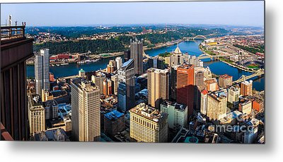 Pittsburgh Pennsylvania Cityscape Panorama Metal Print by Amy Cicconi