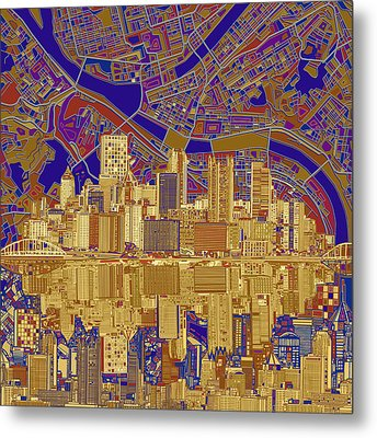 Pittsburgh Skyline Abstract 3 Metal Print