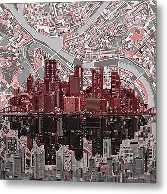 Pittsburgh Skyline Abstract 5 Metal Print