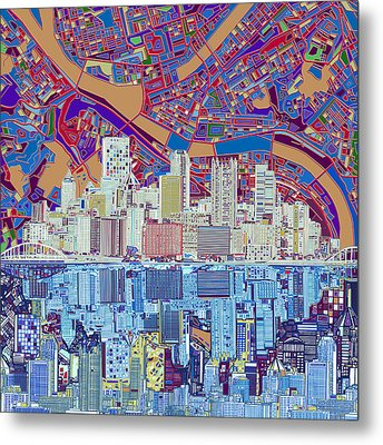 Pittsburgh Skyline Abstract 6 Metal Print