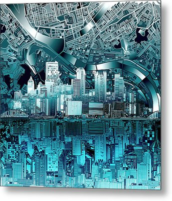 Pittsburgh Skyline Abstract Blue Metal Print