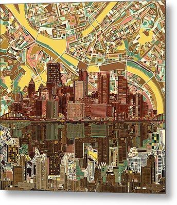 Pittsburgh Skyline Abstract  Metal Print