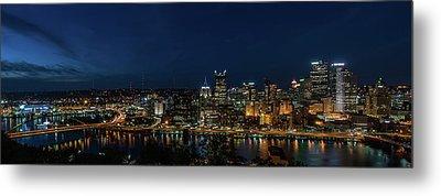 Pittsburgh Skyline At Dusk Panoramic  Metal Print